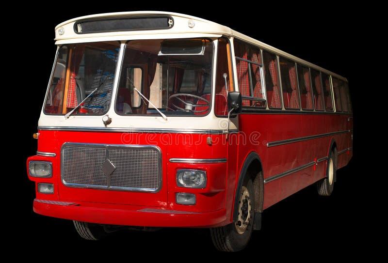 Oude retro rode bus stock foto's