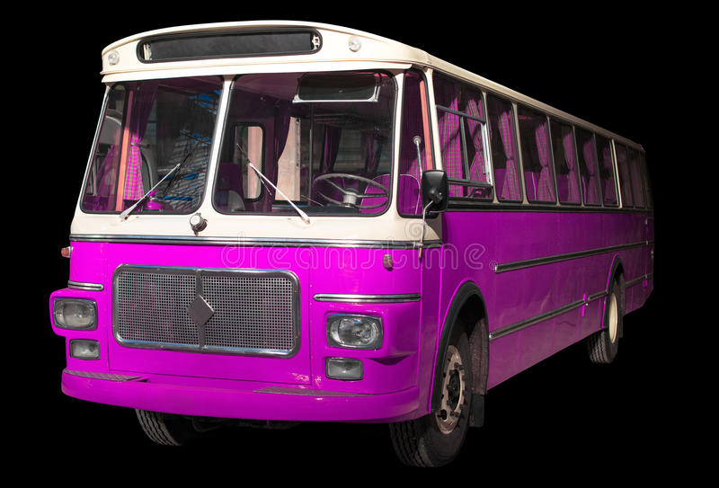 Oude retro roze bus stock fotografie