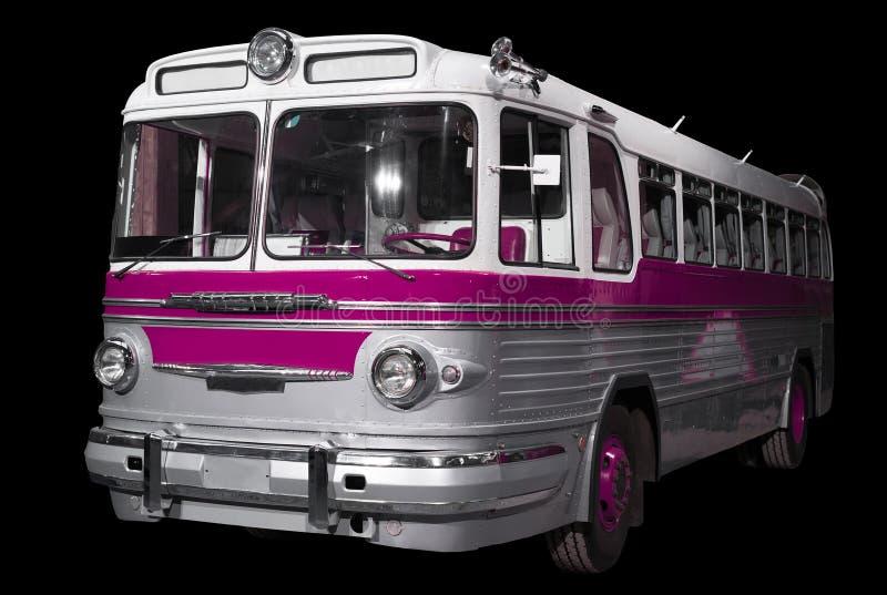 Oude retro roze bus royalty-vrije stock afbeeldingen