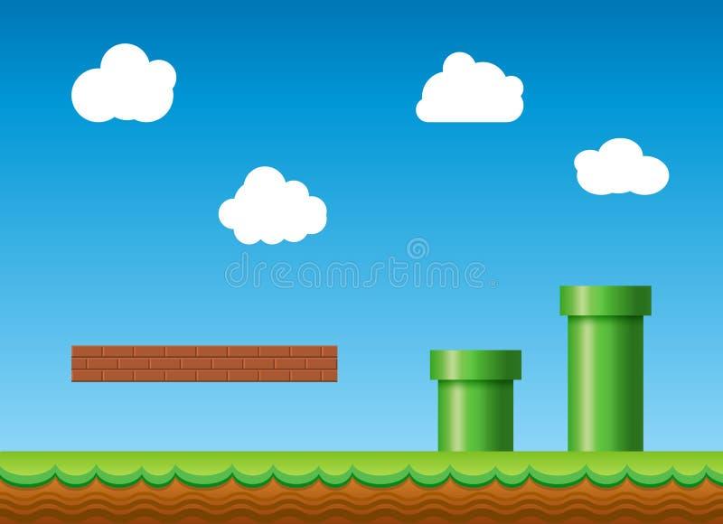Oude retro videospelletjeachtergrond Klassiek retro het ontwerplandschap van het stijlspel stock illustratie