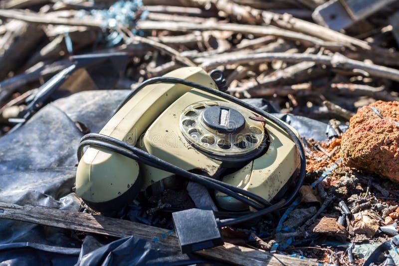 Oude Retro Wijnoogst Gebroken Roterende Telefoon royalty-vrije stock foto
