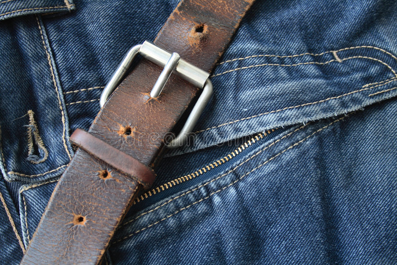Oude Riem en Jeans stock afbeelding