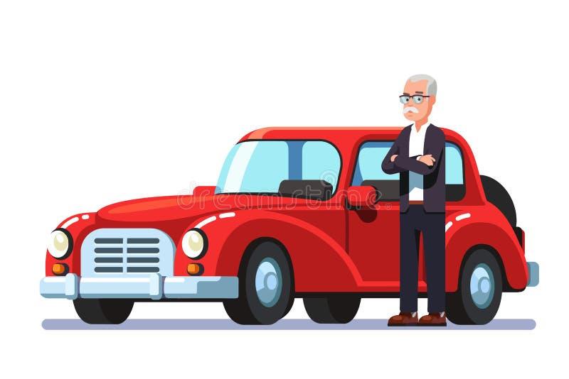 Oude rijke man die zich naast dure retro auto bevinden stock illustratie