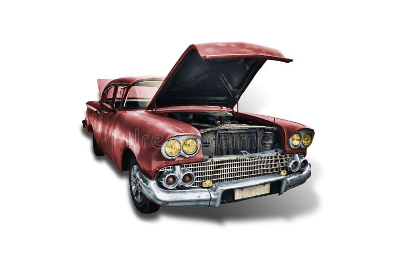 Oude rode Amerikaanse auto van de jaren '50 op witte achtergrond royalty-vrije stock afbeelding