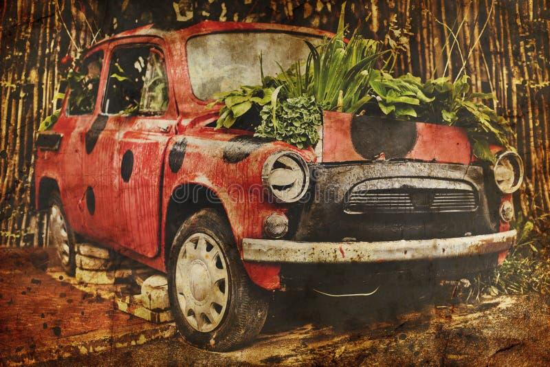 Oude rode auto royalty-vrije stock fotografie