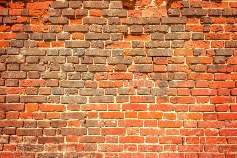 Oude Rode Bakstenen muur royalty-vrije stock fotografie