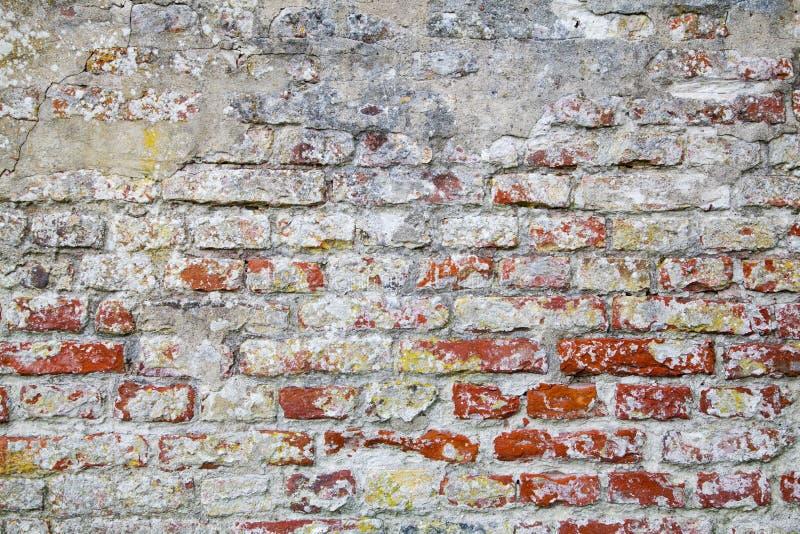 Oude Rode Bakstenen muur met Gebarsten Concrete Textuur Als achtergrond royalty-vrije stock afbeelding