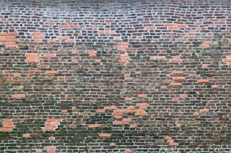 Oude rode bakstenen muurtextuur, achtergrond royalty-vrije stock afbeeldingen