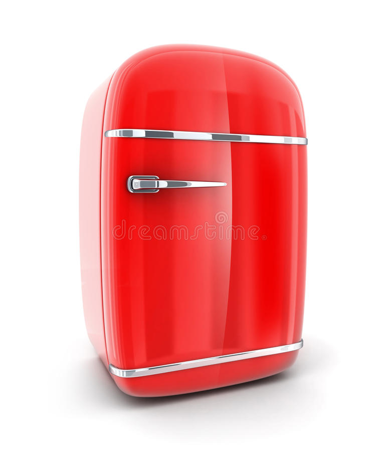 Oude rode koelkast royalty-vrije illustratie