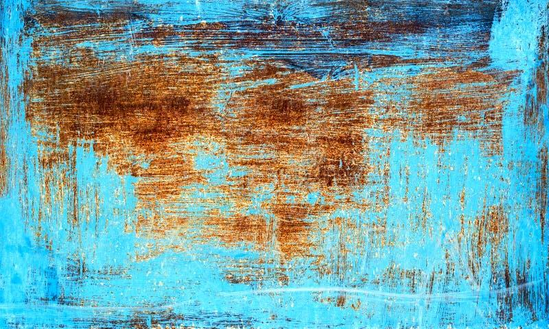 Oude roestige die metaaltextuur met blauwe verf wordt geschilderd royalty-vrije stock foto