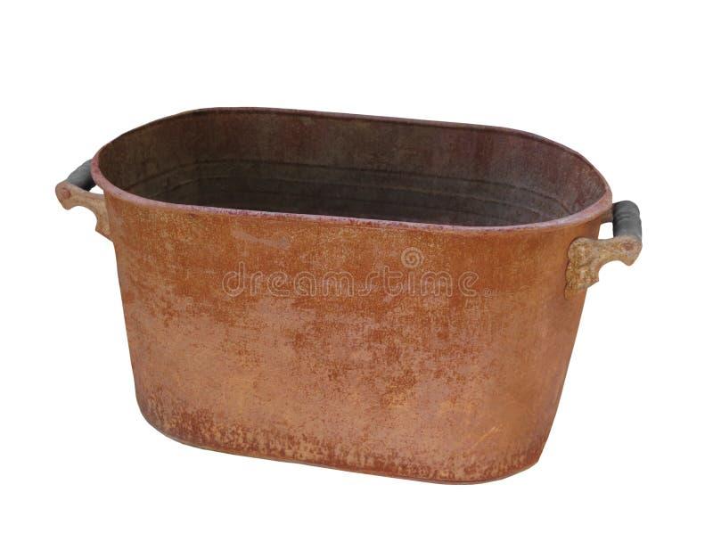 Oude roestige geïsoleerde waskom royalty-vrije stock afbeelding