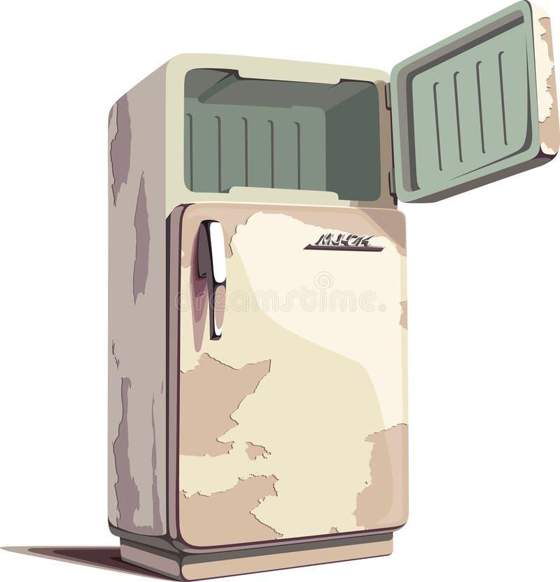 Oude roestige koelkast stock illustratie