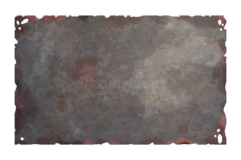 Oude roestige metaalplaat stock illustratie