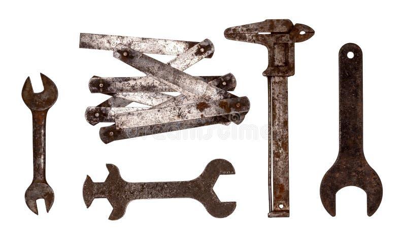 Oude roestige moersleutels Ingewikkelde vorm stock afbeeldingen