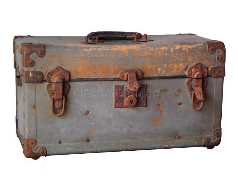 Oude roestige uitstekende Staalborst op witte achtergrond stock afbeelding