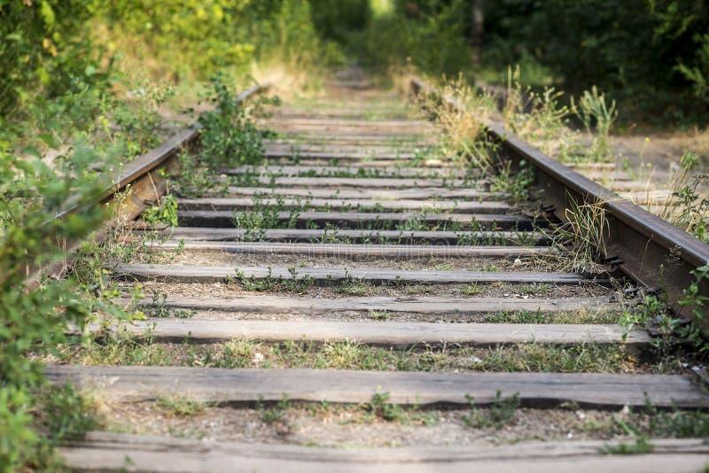 Oude, roestige, verlaten spoorwegsporen, die zich in de afstand uitrekken Vervoerachtergrond Het gras groeit rond de spoorwegspor stock afbeeldingen