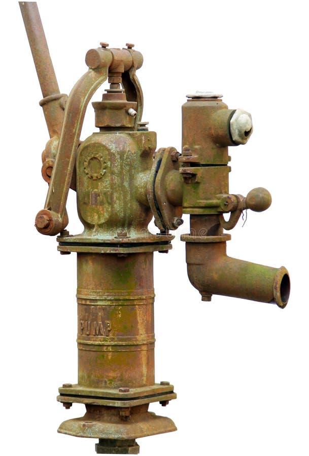 Oude roestige waterpomp stock foto's