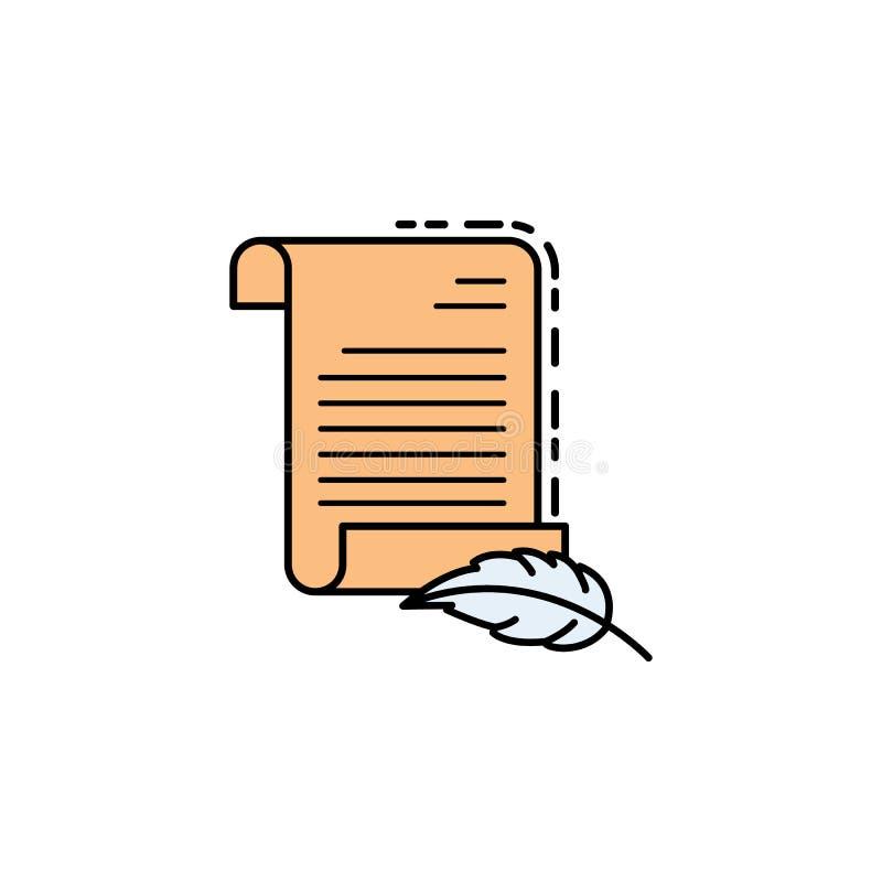 oude rol, document, perkamentpictogram Element van het pictogram van de geschiedeniskleur voor mobiele concept en webtoepassingen royalty-vrije illustratie