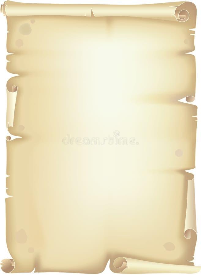 Oude rol, manuscript stock illustratie