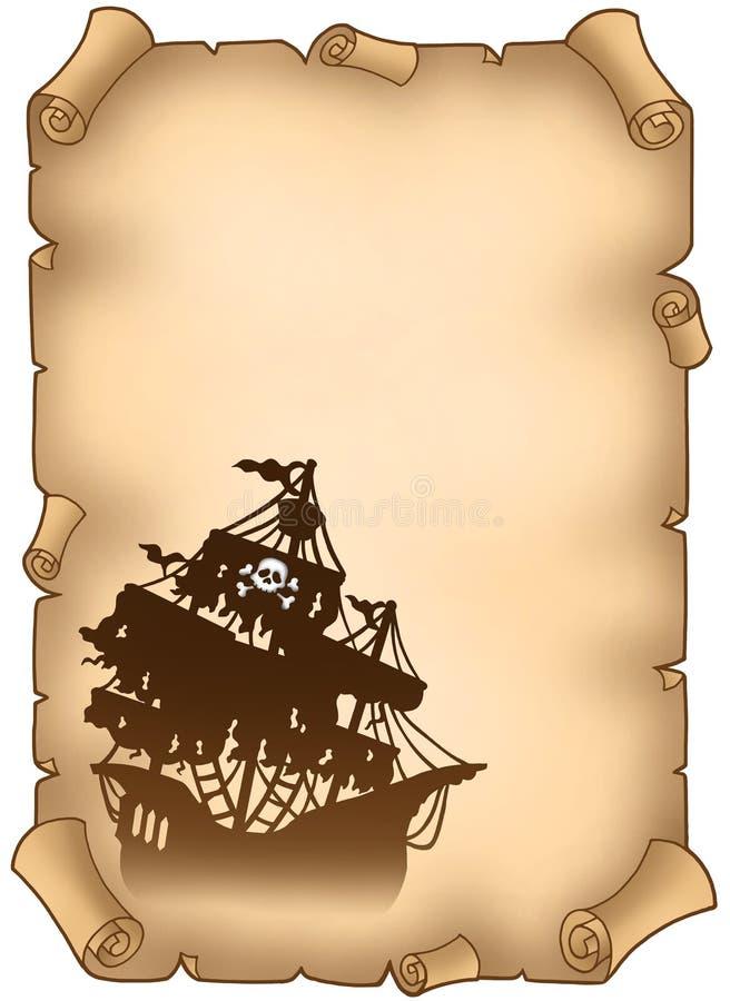 Oude rol met geheimzinnig piraatschip vector illustratie