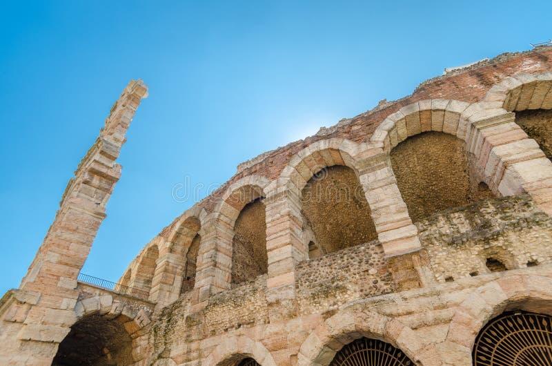 Oude roman arena, oude Romein ampitheater in Verona, Italië royalty-vrije stock afbeelding