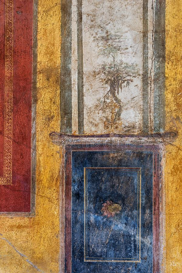 Oude Roman fresko van de ruïnes in Pompei stock foto's