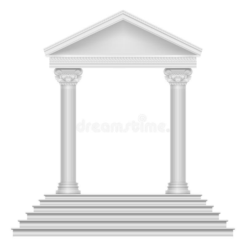 Oude roman tempel met stappen en kolommen vector illustratie