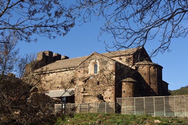 Oude romanesque klooster laat achtste eeuw Sant Quirze DE Co stock foto