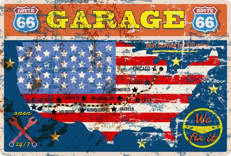 Oude route 66 garageteken royalty-vrije illustratie