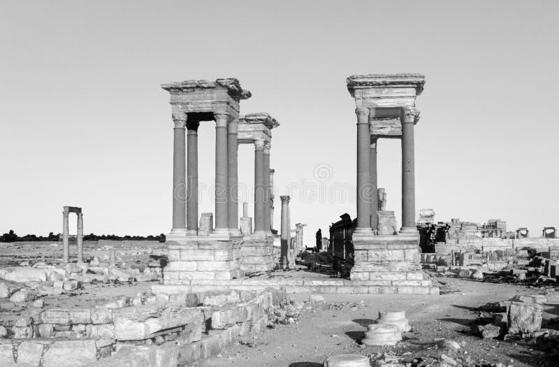 Oude ruïnes in de oude stad van Palmyra stock foto's