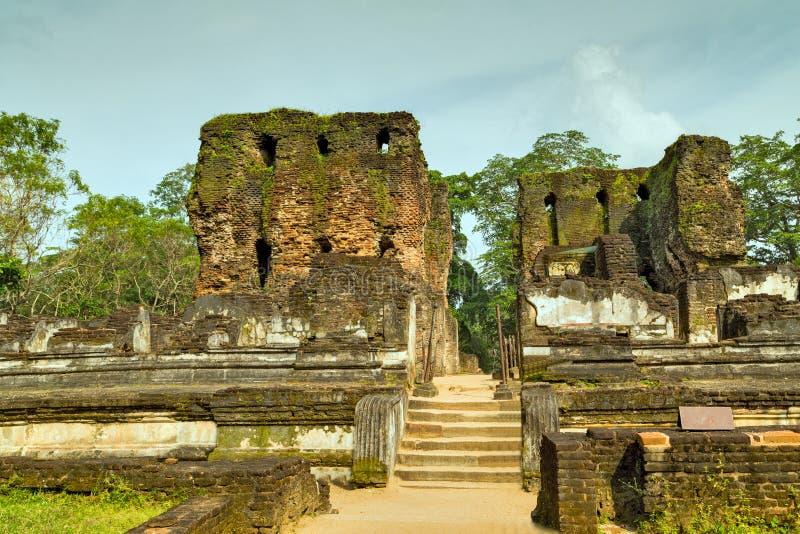 Oude ruïnes Royal Palace in Polonnaruwa-Unesco van de stadstempel royalty-vrije stock afbeelding
