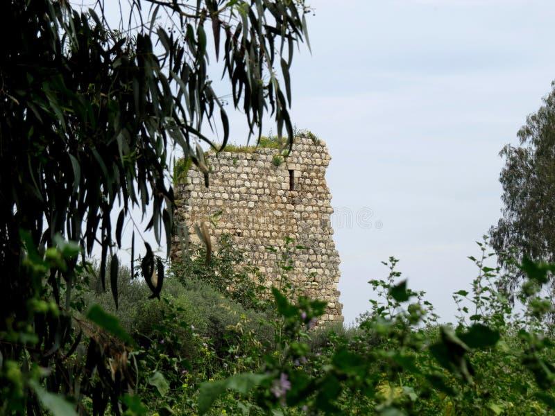 Oude ruïnes van Burgata fort, Hefer Valey, Israël stock foto's