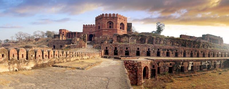 Oude ruïnes van Fatehpur Sikri Fort, India. stock fotografie