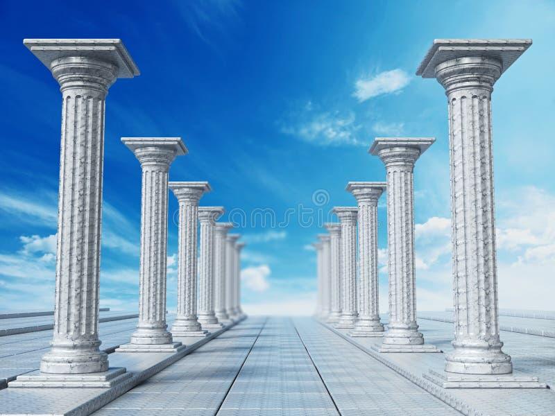 Oude ruïnes van Griekse pijlers tegen blauwe hemel 3D Illustratie vector illustratie