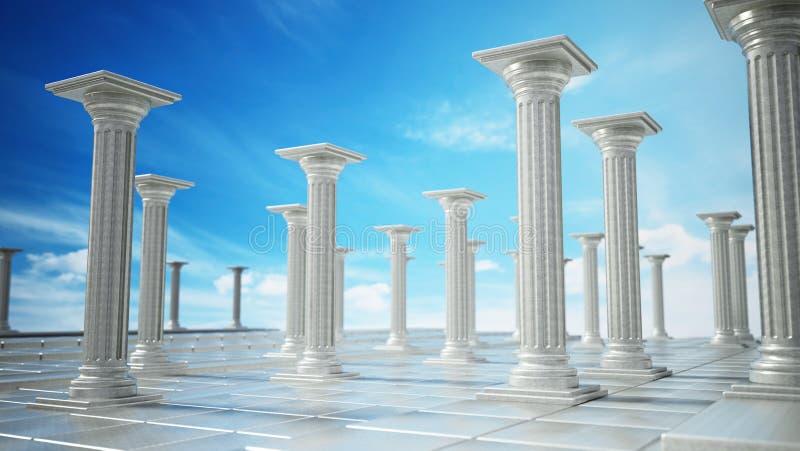 Oude ruïnes van Griekse pijlers tegen blauwe hemel 3D Illustratie royalty-vrije illustratie