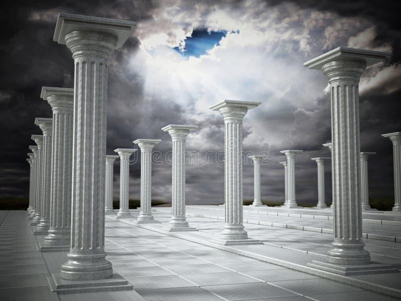 Oude ruïnes van Griekse pijlers tegen donkere hemel 3D Illustratie stock illustratie