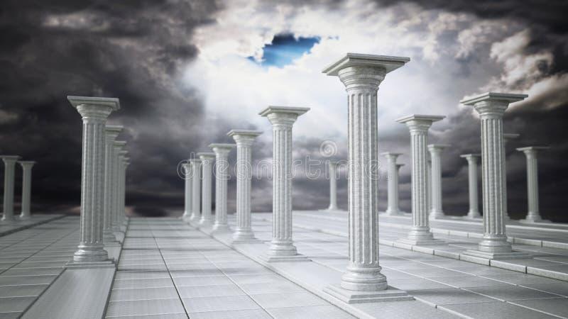 Oude ruïnes van Griekse pijlers tegen donkere hemel 3D Illustratie royalty-vrije illustratie
