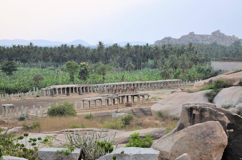 Oude ruïnes van Hampi, Karnataka, India royalty-vrije stock foto's