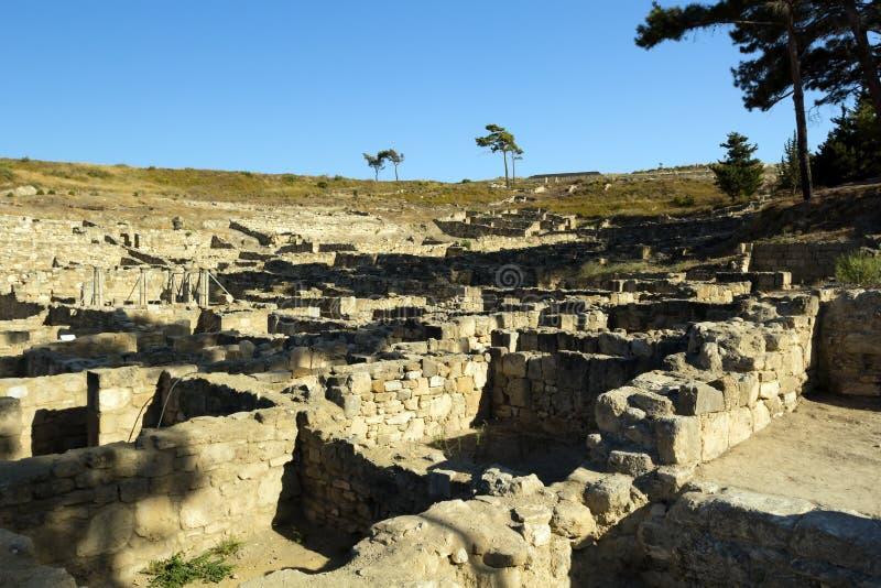 Oude ruïnes van Kamiros - Rhodos royalty-vrije stock foto