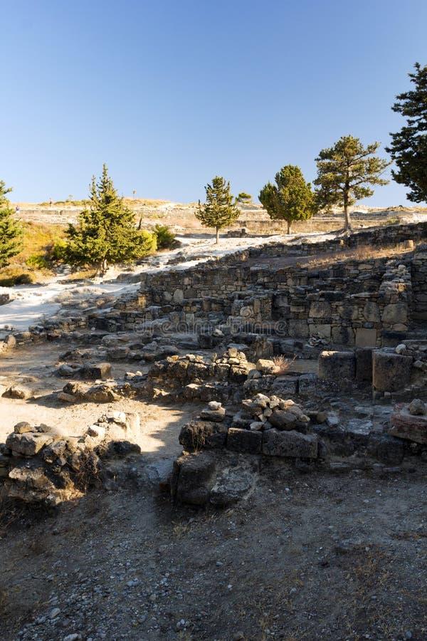 Oude ruïnes van Kamiros - Rhodos royalty-vrije stock afbeelding