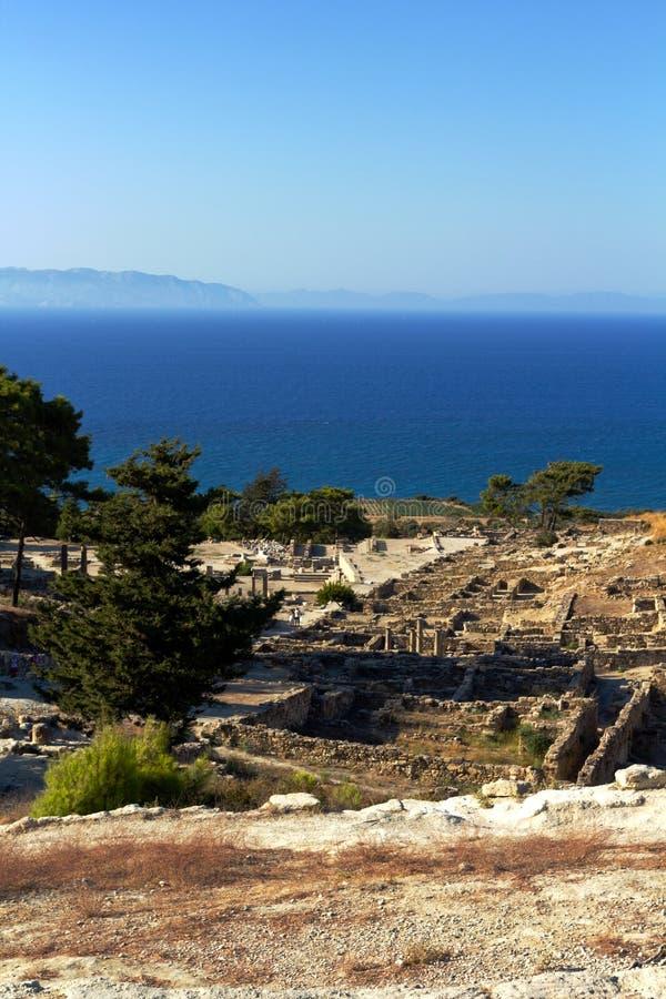 Oude ruïnes van Kamiros - Rhodos stock foto's