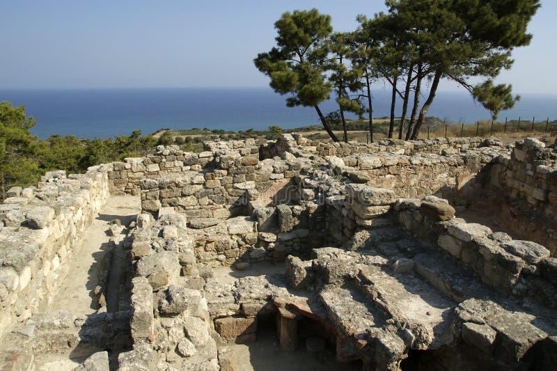 Oude ruïnes van Kamiros, Rhodos - Griekenland stock fotografie