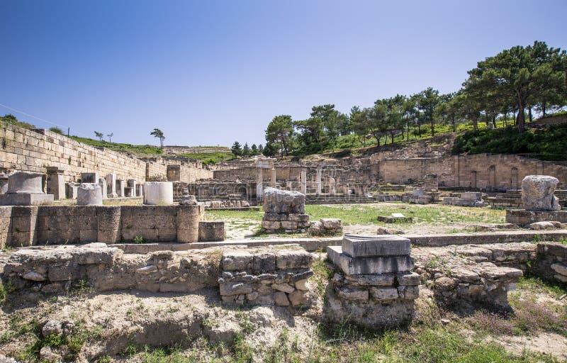 Oude ruïnes van kamiros in Rhodos, Griekenland stock foto