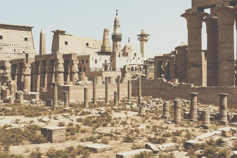 Oude ruïnes van Karnak-tempel in Luxor Egypte royalty-vrije stock foto