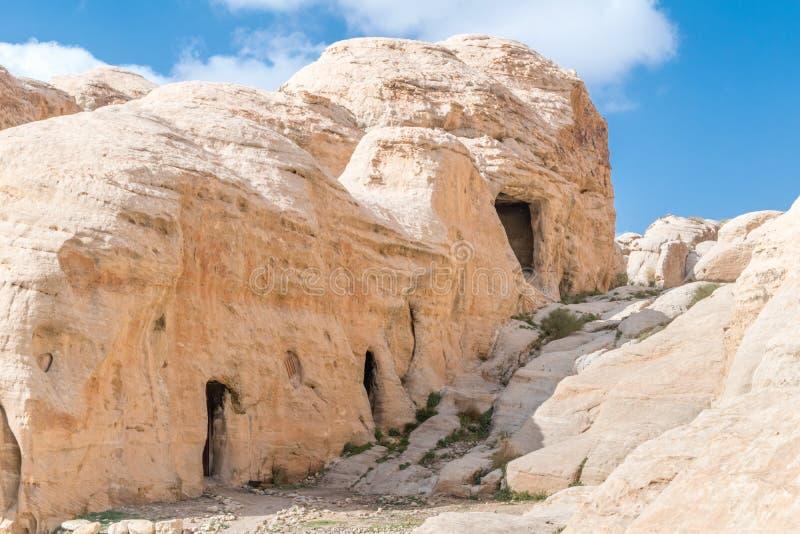 Oude oude ruïnes van stad van Petra in Jordanië Petra is één van de nieuwe Zeven Wereldwonders stock afbeelding