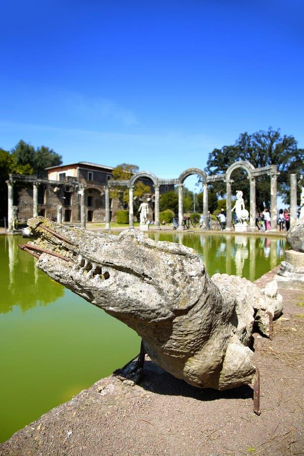 Oude ruïnes van Villa Adriana, Tivoli, Italië stock foto's
