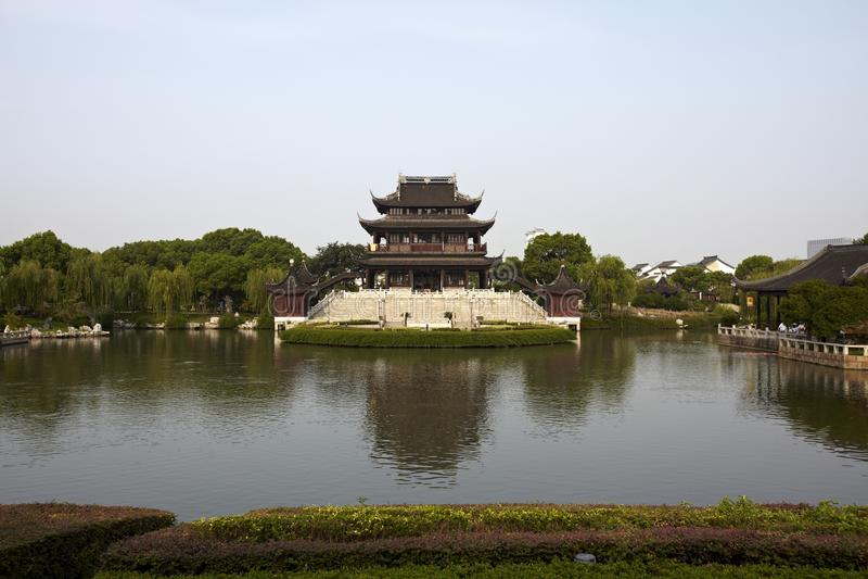 Oude Ruigang Pagode Suzhou China stock foto's