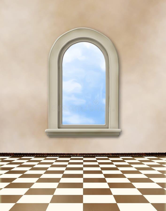 Oude ruimte, grunge binnenland met venster royalty-vrije illustratie