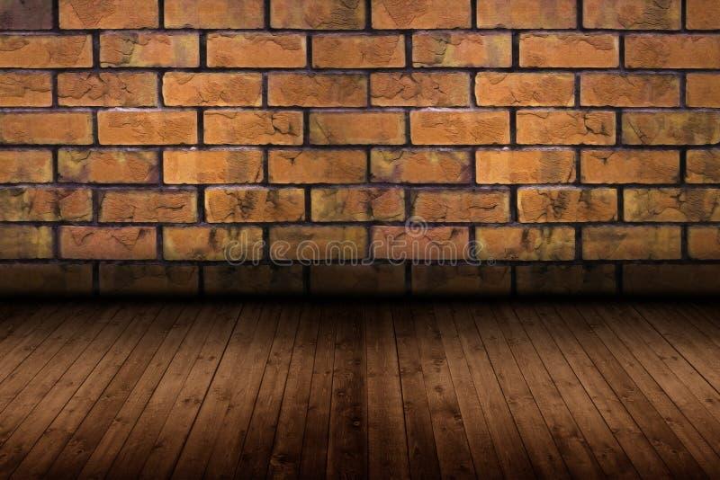 Oude ruimte met bakstenen muur, uitstekende achtergrond stock foto's