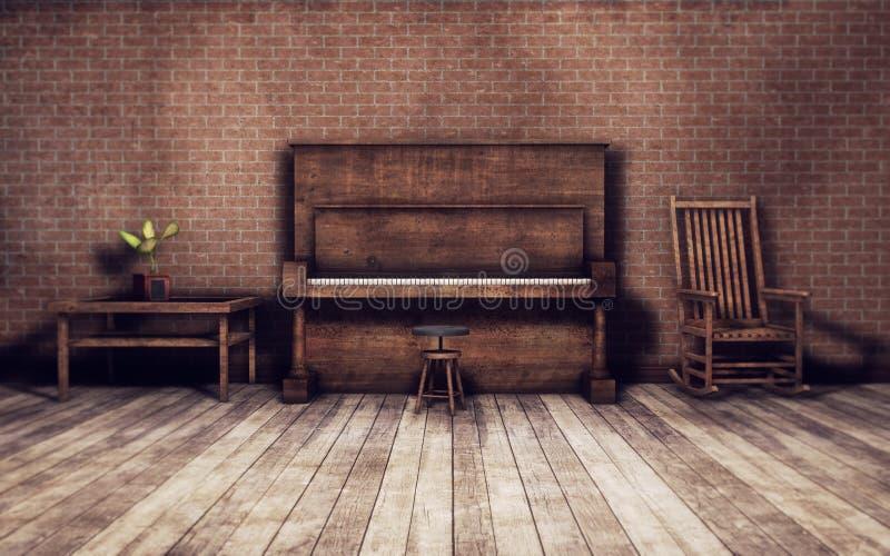 Oude ruimte met pianoachtergrond vector illustratie